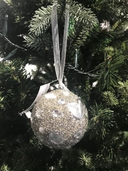 Weihnachtskugel Wasabi Silber 7cm