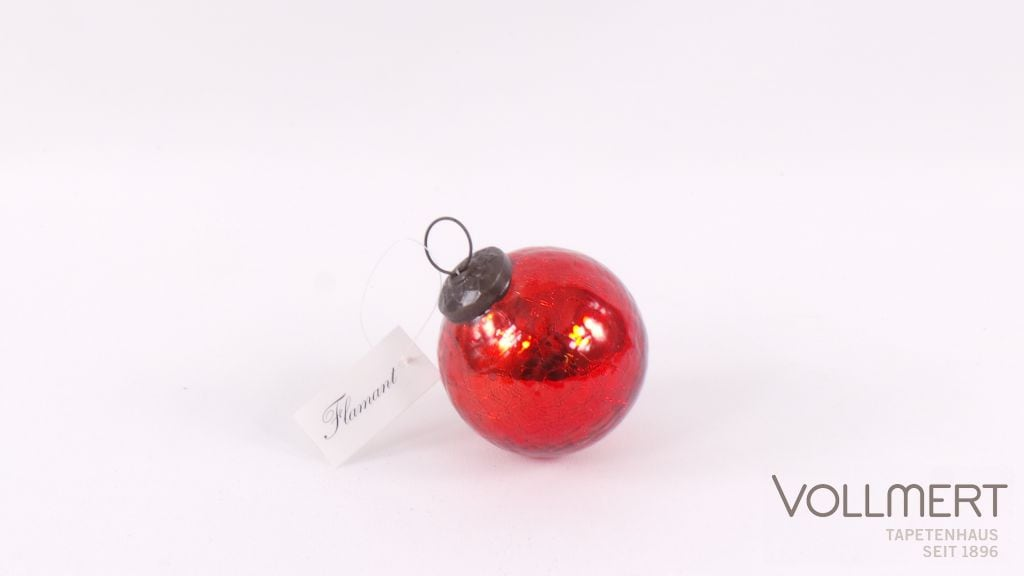 WEIHNACHTSKUGEL'RED CRACKED SHINY'@7,5