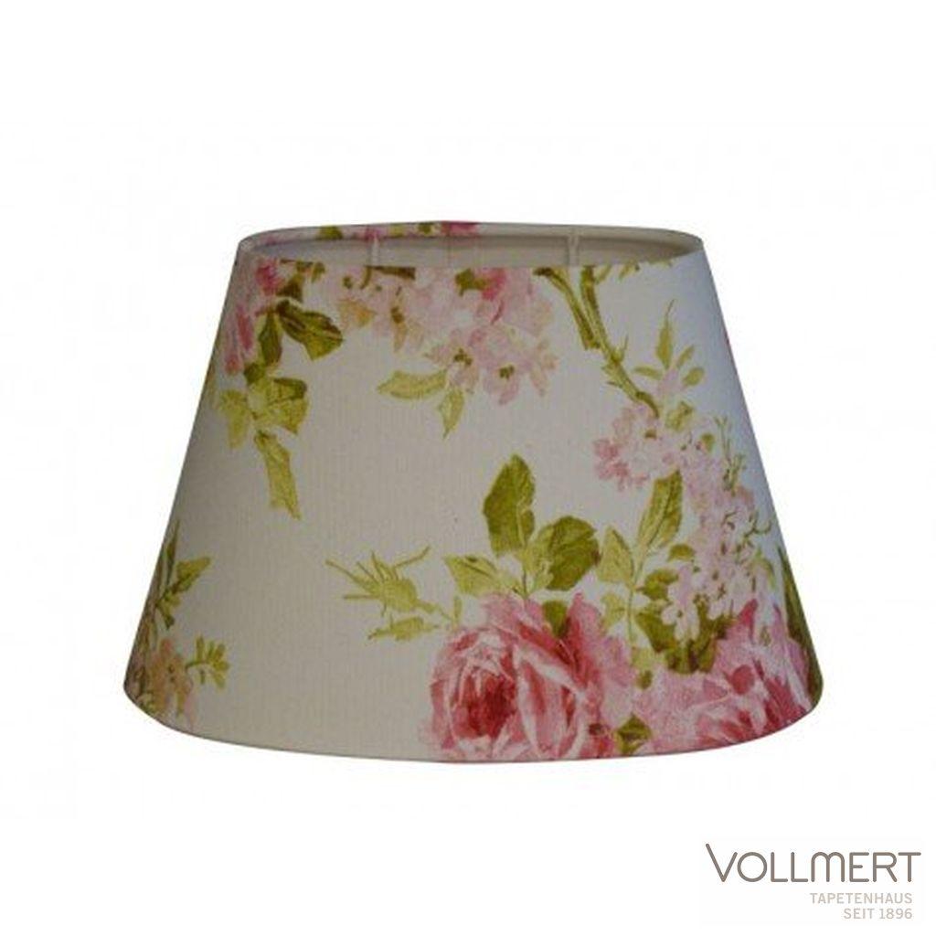 Lampenschirm oval 25-16-16 cm ROSE auf weiss